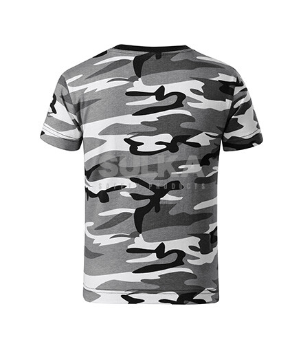 d03afb5d8c49 Detské šedé maskáčové tričko s krátkym rukávom vyrobené zo 100% bavlny s  bočnými švami z