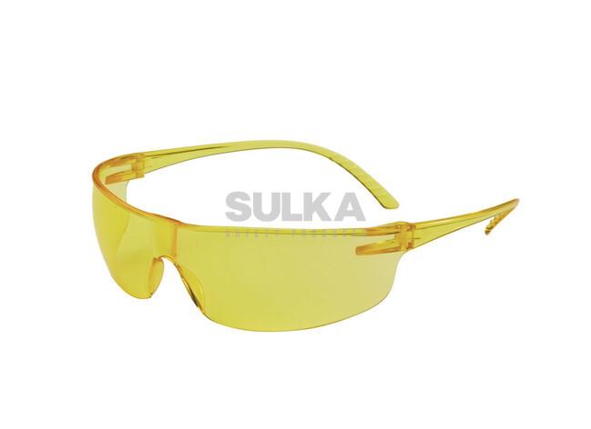 Bestseller ľahké žlté pracovné okuliare tvorené odolným bez rámovým  polykarbonátovým profilom a antistatickým polykarbonátovým zorníkom odolným 645f27f7a44