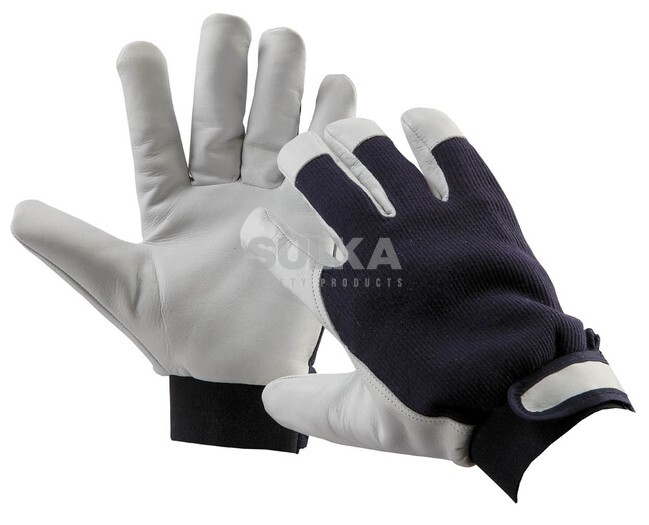 33d01f3f450 Zateplené mechanicky odolné kombinované rukavice koža textil šité z jemnej  lícovej kozinky v dlani