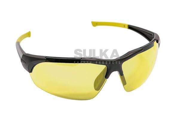 540762f16 Štýlové pracovné okuliare s čiernym rámom, mäkkým nosovým sedielkom a žltým  polykarbonátovým zorníkom odolným voči