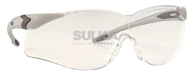 b9343c383 Štýlové číre ochranné okuliare elegantného tvaru s čiernym rámom tvorené  odolným polykarbonátovým zorníkom z jedného kusa