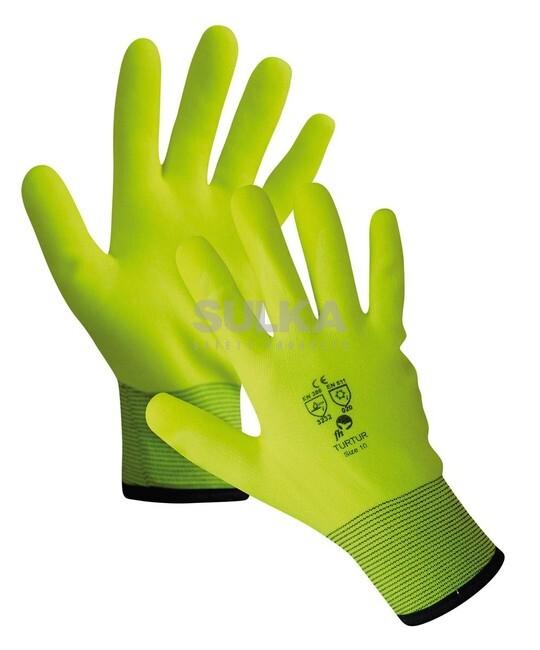 b9a38c3fdc1 Zimné žlté signálne pracovné rukavice tvorené bezšvovým nylonovým úpletom s  vrstvou odolného PVC v dlani a