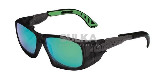 4ed6a6721 Štýlové pracovné slnečné okuliare športového tvaru s bočnou ochranou a  odvetrávacím systémom. Majú čierny rám