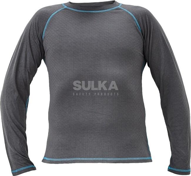 27d4864ecc4bd Funkčné veľmi kvalitné a hrejivé tričko sivej farby s kontrastným modrým  prešitím. Vyrobené zo 65