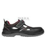 Pohodlné ochranné sandále s uzavretou pätou s nekovovou tužinkou bez podrážky odolnej proti prepichnutiu vhodné do vnútorných aj vonkajších prevádzok. Sandále sú z hovädzej usne s pásikom na suchý zips s reflexnými prvkami. Polyuretánová PU/PU podošva má protišmykové vlastnosti SRC a je rezistentná voči olejom a palivám.