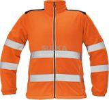 Pánska pracovná fleecová hi-vis bunda so stojačikom a zapínaním na zips, vyrobená zo 100% polyesteru.