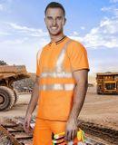 HI-VIS oranžové tričko s krátkym rukávom vyrobené z 55% bavlny a 45% polyesteru s 2 vertikálnymi a 2 horizontálnymi segmentovanými reflexnými pruhmi na prednom a zadnom diely.