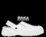 Moderné, pohodlné biele anatomicky tvarované kroxy s odopínateľným pätovým remienkom a oceľovou bezpečnostnou špicou. Vyrobené z mikrovlákna s vnútornou podšívkou Cambrelle a podrážkou ARCTICA PU/PU s protišmykovými vlastnosťami.