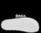 Korkové biele sandále s anatomicky tvarovanou platformou s podošvou z odľahčeného EVA materiálu prispieva k nízkej hmotnosti a vyššej odolnosti proti oderu a opakovanému ohybu. Machová zelená medzipodošva účinne tlmí nárazy pri chôdzi. Kožený zvršok je z hovädzej štiepenky na dve pracky s nastaviteľnou šírkou priehlavku a prackou okolo päty.