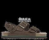 Korkové hnedé sandále s anatomicky tvarovanou platformou s podošvou z odľahčeného EVA materiálu prispieva k nízkej hmotnosti a vyššej odolnosti proti oderu a opakovanému ohybu. Machová zelená medzipodošva účinne tlmí nárazy pri chôdzi. Kožený zvršok je z hovädzej štiepenky na dve pracky s nastaviteľnou šírkou priehlavku a prackou okolo päty.
