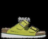 Korkové zelené šlapky s anatomicky tvarovanou platformou s podošvou z odľahčeného EVA materiálu prispieva k nízkej hmotnosti a vyššej odolnosti proti oderu a opakovanému ohybu. Machová zelená medzipodošva účinne tlmí nárazy pri chôdzi. Kožený zvršok je z hovädzej štiepenky na dve pracky s nastaviteľnou šírkou priehlavku. Zvýšená podošva v tvare klinu.