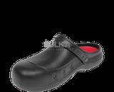 Pohodlné, špeciálne anatomicky tvarované čierne kroxy s pätovým remienkom s kompaktne vyztuženou prednou časťou poskytujúcou ochranu pred pádom predmetov na nohu. Vyrobené z EVA materiálu.