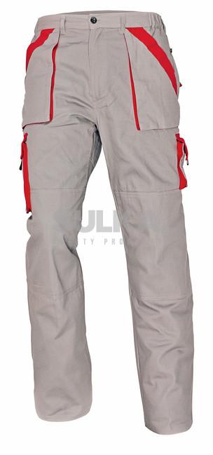 MONTÉRKOVÉ MAX NOHAVICE Sivo-červené pánske pracovné montérkové nohavice  vyrobené zo 100% kvalitnej bavlny b800d56d88