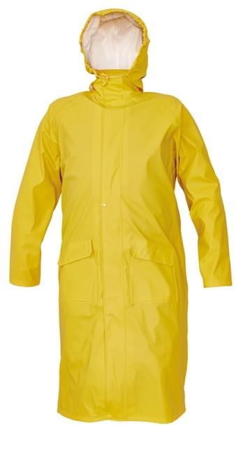 76867d4ccd SIRET PLÁŠŤ Žltý nepremokavý a vetru odolný plášť do dažďa s kapucňou v  golieri vyrobený zo