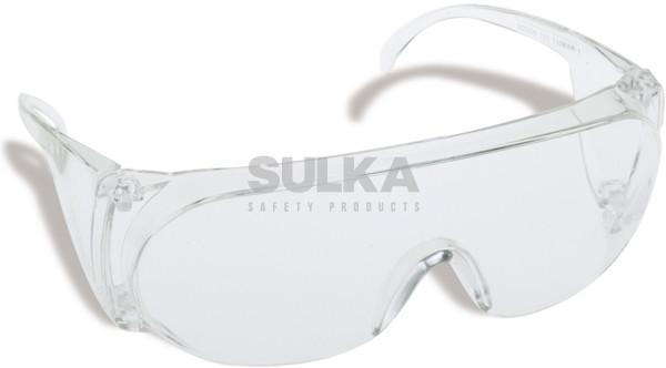 9cdc69c7e Jednoduché polykarbonátové ochranné okuliare tvarovo prispôsobené pre  použitie na väčšinu dioptrických okuliarov, tvarové riešenie zabraňuje