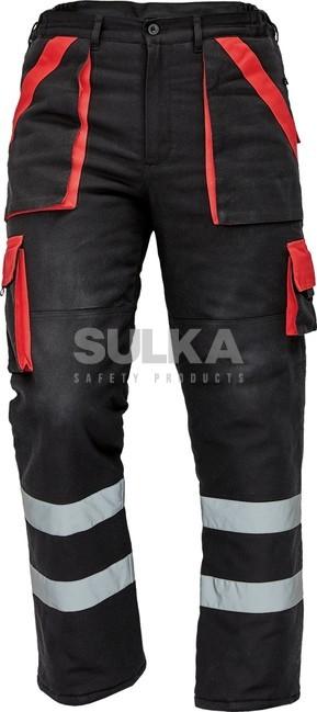ZIMNÉ MAX NOHAVICE RFLX Čierno-červené zateplené pánske pracovné montérkové  nohavice vyrobené zo 100% f3b0d32a9f